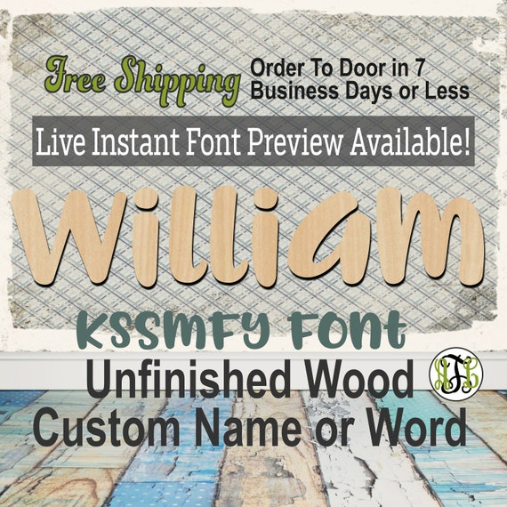 KsSmFy Font Name / Word / Phrase- Block Alphabet Cutout, unfinished, wood cutout, laser cut wood, wood cut out, wooden,  Live Font Preview