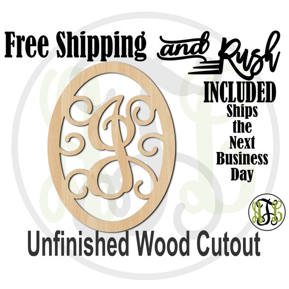 Thick Oval with Scrolls Monogram Wood Cutout, Initial Sign, Door Hanger, unfinished, wood cut out, laser cut -601TOS A-Z- RUSH PRODUCTION