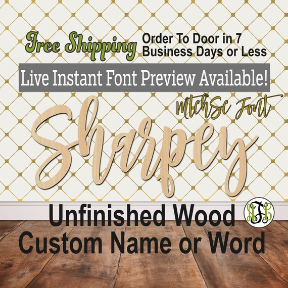 Custom Wood Name Sign, MtchSc Font, Cursive, Connected, wood cut out, wood cutout, wooden, Nursery, Wedding, Birthday, word sign, Script