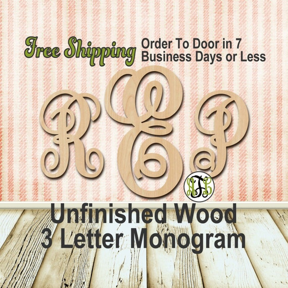 Unfinished Wood 3 Letter Monogram, Fancy, Detached, Craft, laser cut wood, wood cut out, Custom, Personalized, Nursery, wooden, Door Hanger
