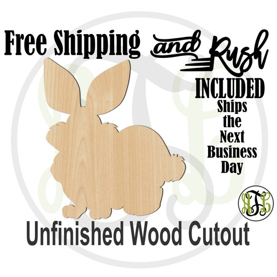 Fluffy Bunny - 140017- Easter Cutout, unfinished, wood cutout, laser cut wood, Door Hanger, wreath accent - RUSH PRODUCTION