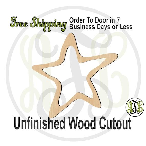 Open Star- 300220- Christmas Cutout, unfinished, wood cutout, wood craft, laser cut shape, wood cut out, Door Hanger, wooden