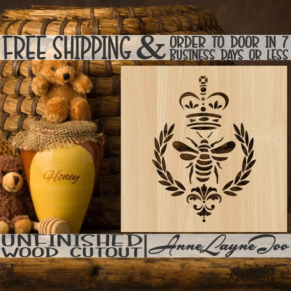 Damask Queen Bee Wood Cutout, Baby Girl Wood Cut out,  Mom Cutout, Door Hanger, wooden sign, unfinished, wood cut out, laser cut -490002