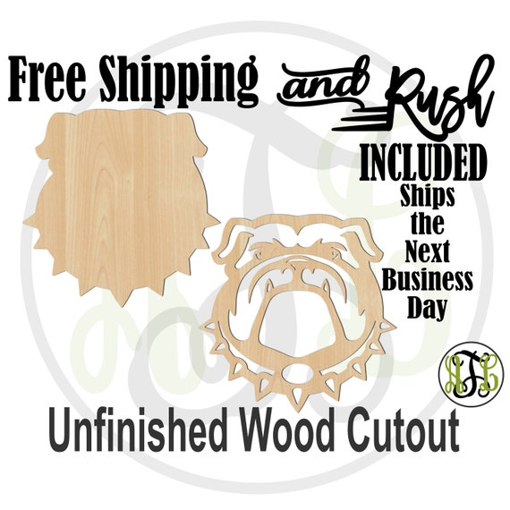 Bulldog Head Solid or Outline- 60197-96- Mascot Head Cutout, unfinished, wood cutout,  laser shape - RUSH PRODUCTION