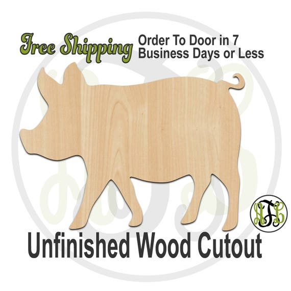 Pig 2 - 230094- Animal Cutout, unfinished, wood cutout, wood craft, laser cut shape, wood cut out, Door Hanger, wooden, blank