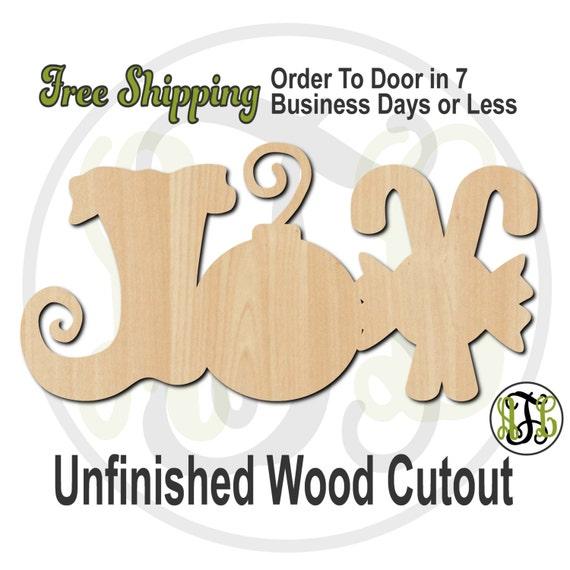 JOY - No. 180103- Christmas Cutout, unfinished, wood cutout, wood craft, laser cut shape, wood cut out, Door Hanger, wooden, wall art
