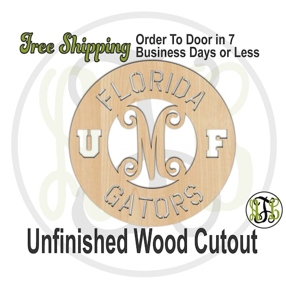 Florida Monogram Circle - 60117M1- UF Personalized Cutout, Initial, unfinished, wood cutout, wood craft, laser cut shape, wood cut out