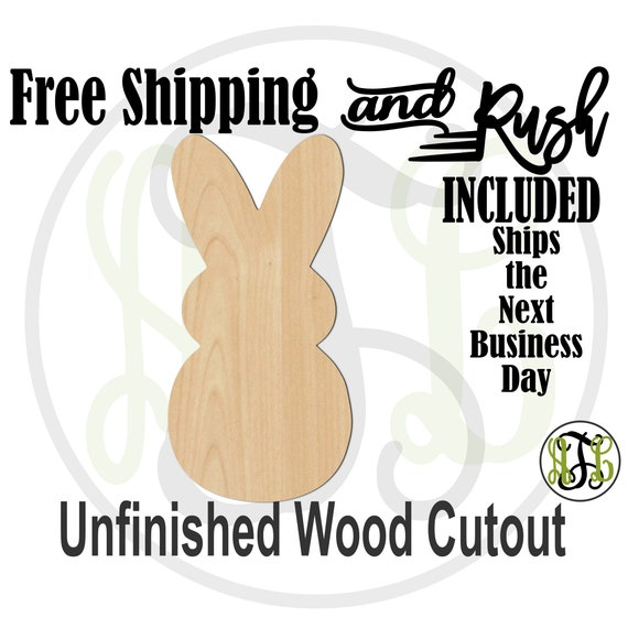 Marshmallow Bunny- 140044- Easter Cutout, unfinished, wood cutout,  laser wood cutout, Door Hanger, Rabbit - RUSH PRODUCTION