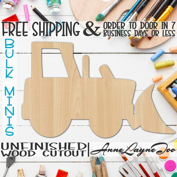 """Bulldozer, 3"""" to 6"""" Minis, Small Wood Cutout, unfinished, wood cutout, wood craft, laser cut shape, wood cut out, ornament -10026"""