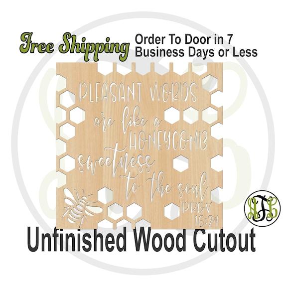 Pleasant Words Honeycomb - 490001- Religious Cutout, unfinished, wood cutout, wood craft, laser cut, wood cut out, Door Hanger, wooden sign