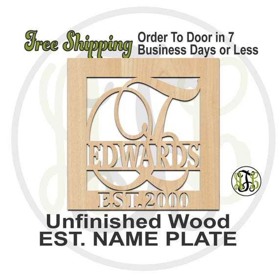 Initial Name Plate and EST in Square Frame- Personalized Cutout, Initial, unfinished, wood cutout, wood craft, laser cut out, wooden sign
