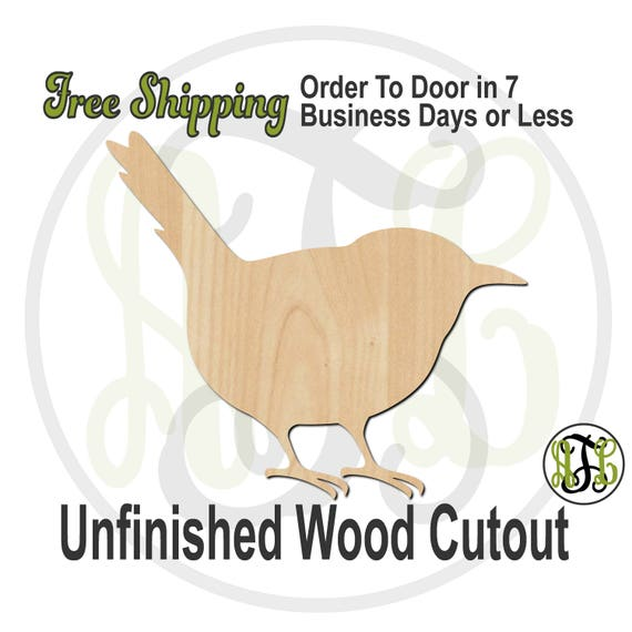 Wren - 230111- Bird Cutout, unfinished, wood cutout, wood craft, laser cut shape, wood cut out, Door Hanger, wooden, blank