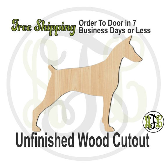 Doberman - 230079- Animal Cutout, unfinished, wood cutout, wood craft, laser cut shape, wood cut out, Door Hanger, Dog, wooden, blank