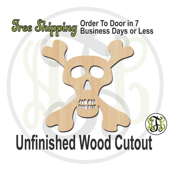 Skull and Bones - 160009-  Halloween Cutout, unfinished, wood cutout, wood craft, laser cut shape, wood cut out, Door Hanger, wooden