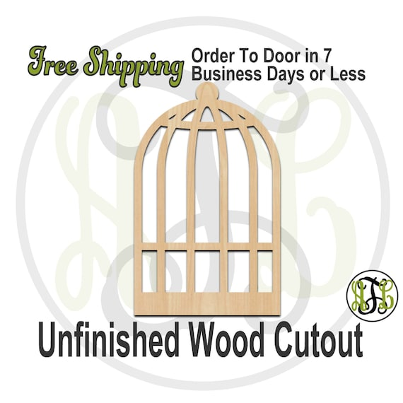 Bird Cage - No. 300090- Cutout, unfinished, wood cutout, wood craft, laser cut shape, wood cut out, Door Hanger, wooden, ready to paint