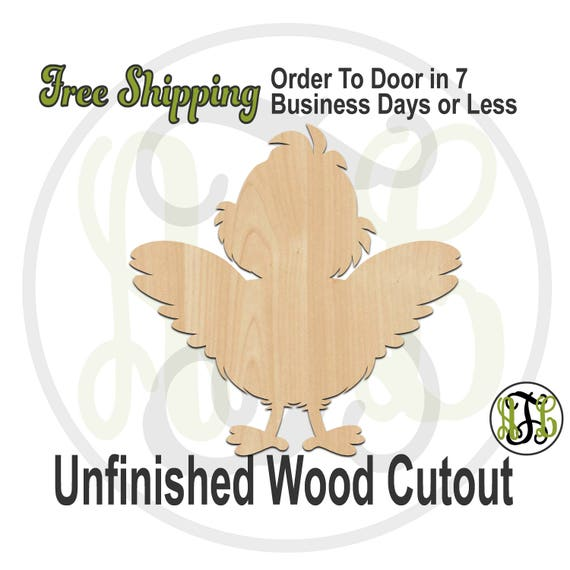Happy Chick - 140020 - Easter Cutout, unfinished, wood cutout, laser cut wood, wood cut out, Door Hanger, wooden, wall art
