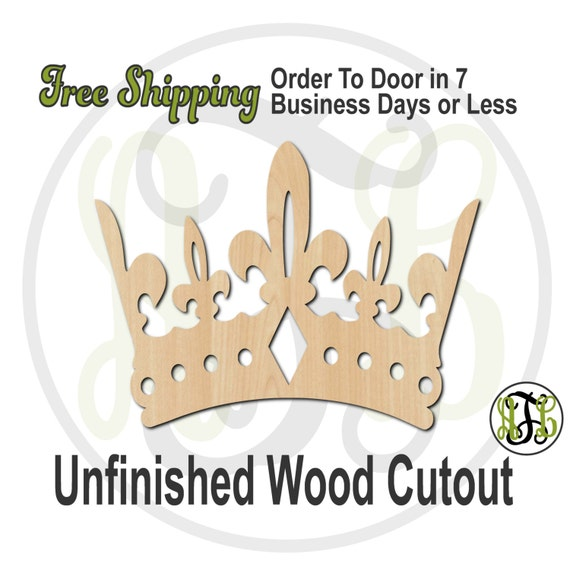 Crown 10- 24410- Cutout, unfinished, wood cutout, wood craft, laser cut shape, wood cut out, Door Hanger, wooden, ready to paint