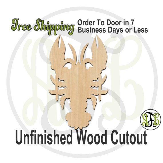 Crawfish - 235005- Crustacean Cutout, unfinished, wood cutout, wood craft, laser cut shape, wood cut out, Door Hanger, Louisiana, wooden