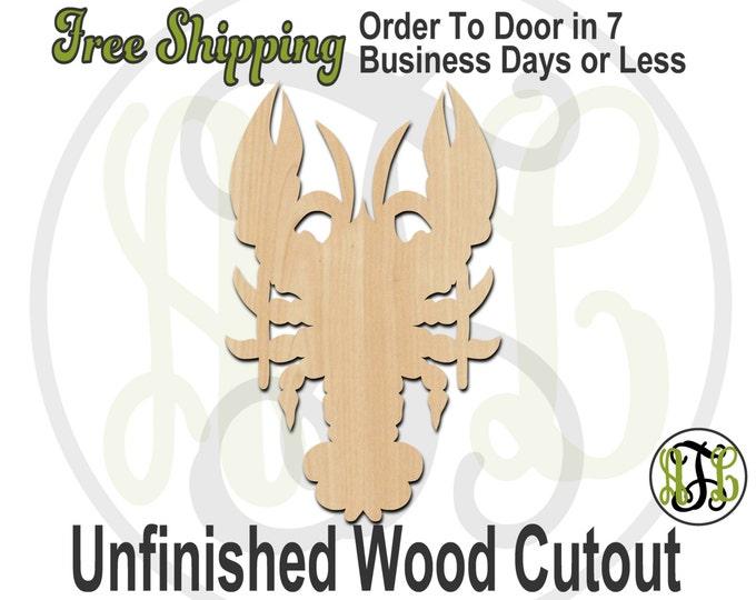 Crawfish - 235005- Crustacean Cutout, unfinished, wood cutout, wood craft, laser cut shape, wood cut out, Door Hanger, Louisiana, wooden