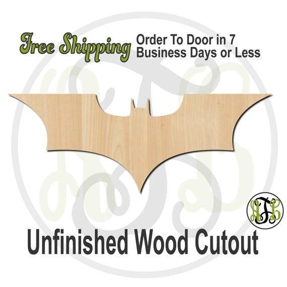 Bat 2 - No. 300159- Superhero Cutout, unfinished, unpainted, wood craft, laser cut blank, Free Ship, wood cut out, wooden, ready to paint