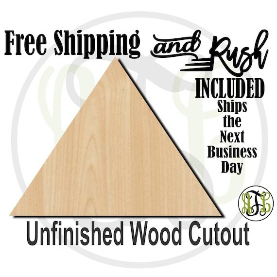 Plaque Triangle -40048- Geometry Shape Cutout, unfinished, wood cutout,  laser cut shape, DIY, Free Shipping - RUSH PRODUCTION