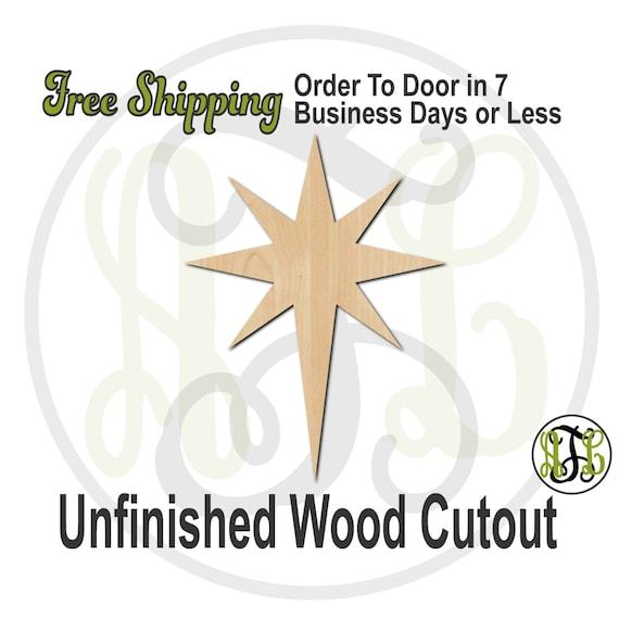 "Bethlehem Star- 3"" to 6"" Minis- 180031- Small Wood Cutout, unfinished, wood cutout, wood craft, laser cut, wood cut out, ornament"