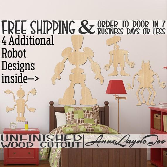 Robot Wood Cutout, Artificial Intelligence Cutout, Wall Art, Door Hanger, wooden, unfinished, wood cut out, laser cut -470004-11