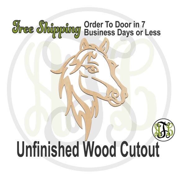 Horse Head Mascot Outline- 60634- School Spirit Cutout, unfinished, wood cutout, wood craft, laser cut, wood cut out, Free Ship, wooden