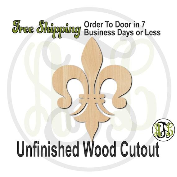 Fleur de Lis 11 - 300030- Cutout, unfinished, wood cutout, wood craft, laser cut shape, wood cut out, Door Hanger, wooden, ready to paint