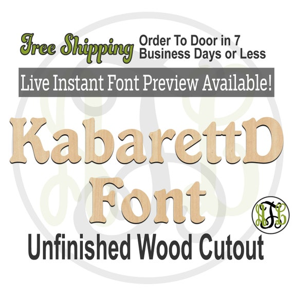 KabarettD Font Name / Word / Phrase- Block Alphabet Cutout, unfinished, wood cutout, laser cut wood, wood cut out, Live Font Preview