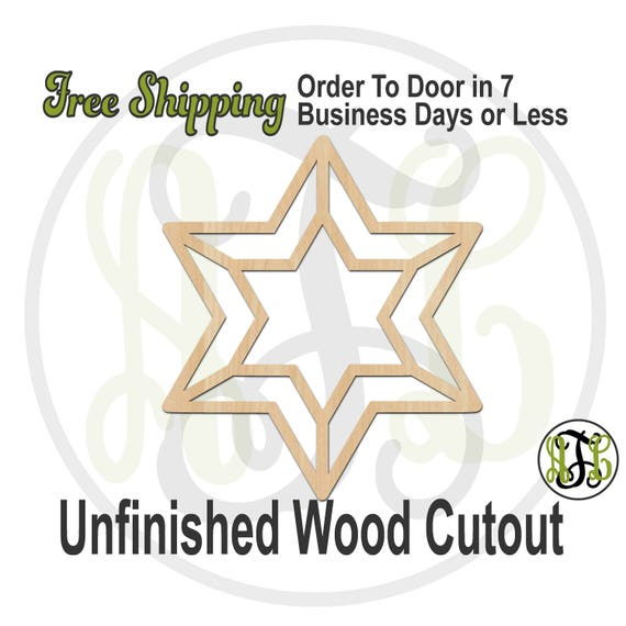 Star of David Double Outline- No. 290044- Religious Cutout, unfinished, wood cutout, wood craft, laser cut wood, wood cut out, Door Hanger