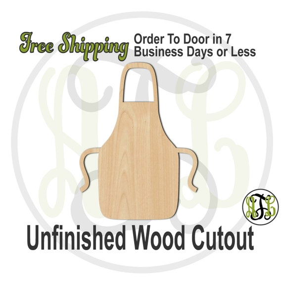 Apron - 300074- Cooking Cutout, unfinished, wood cutout, wood craft, laser cut shape, wood cut out, Door Hanger, wooden, ready to paint