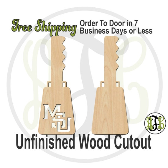 Cowbell MSU or Solid - 60206-207- University Cutout, unfinished, wood cutout, wood craft, laser cut shape, wood cut out, Door Hanger, wooden