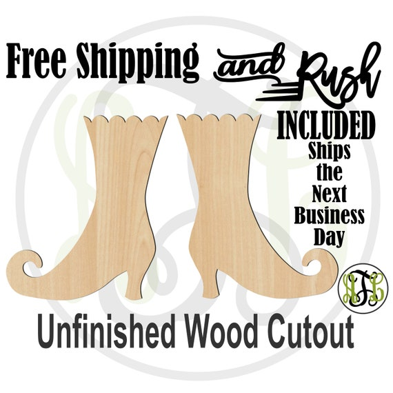 Pair of Witch Boots - 160032- Halloween Cutout, unfinished, wood cutout, wood craft, laser cut, wood cut out, Door Hanger, RUSH PRODUCTION