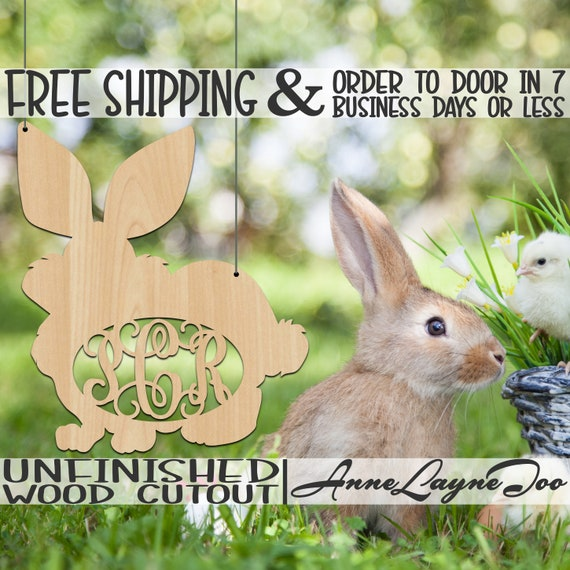 Fluffy Bunny Monogram Wood Cutout, Wooden Easter Door Hanger, Rabbit, A Wooden Hare, Initial, unfinished, wood cutout, laser cut -140029M3