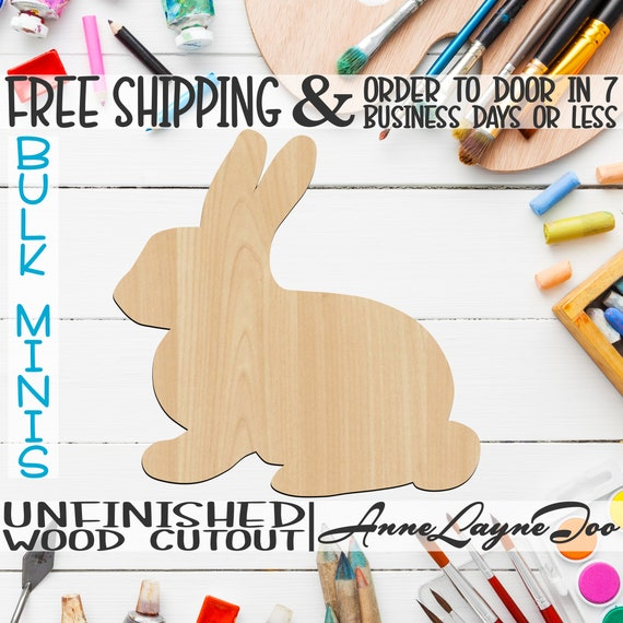 "Bunny- 2"" to 6"" Minis, Small Wood Cutout, unfinished, wood cutout, wood craft, laser cut shape, wood cut out, ornament -230027"