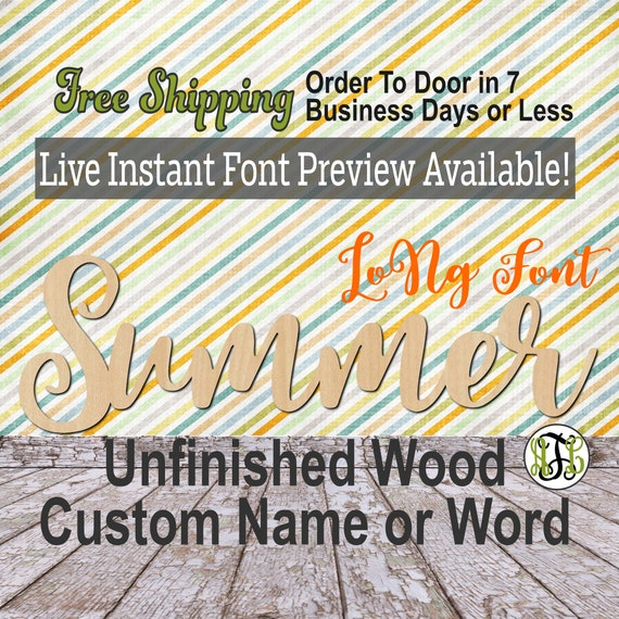 Custom Wood Name Sign, LoNg Font, Cursive, Connected, wood cut out, wood cutout, wooden, Nursery, Wedding, Birthday, word sign, Script