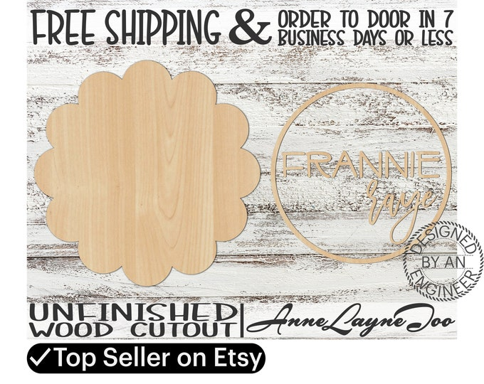 Two - Name Sign DIY Kit Scallop Sign Cutout, unfinished wood cutout, wooden, laser cut, Nursery Wall Plaque, Girl Sign, Boy Sign - 460004