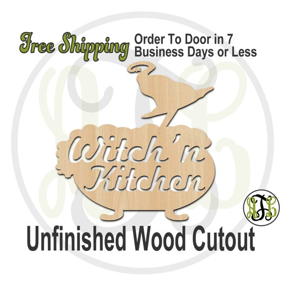 Witch'n Kitchen - 160211- Halloween Cutout, unfinished, wood cutout, wood craft, laser cut wood, wood cut out, Door Hanger, wooden sign