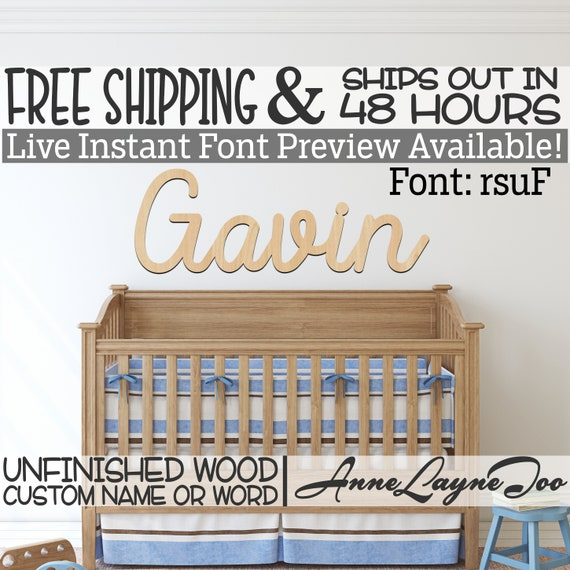 Wooden Name Sign, rsuF Font,  unfinished wood cutout, Custom Wood Name Sign, Nursery Sign, Wedding, Birthday Sign, Name in Wood- 48 HOURS