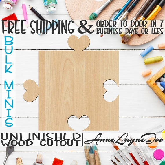 """Interlocking Heart Puzzle Pieces- 2"""" to 6"""" Minis, Small Cutout, unfinished, wood cutout, wood craft, laser cut, Wedding Guest Book -300157"""
