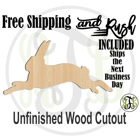 Running Bunny- 140014- Easter Cutout, unfinished, wood cutout,  laser cut shape, Door Hanger, Rabbit - RUSH PRODUCTION