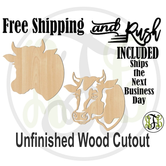 Cow Head Solid or Outline- 230116-117- Farm Animal Head Cutout, unfinished, wood cutout,  laser wood cutout - RUSH PRODUCTION