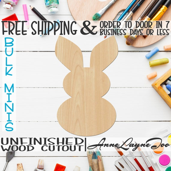"""Bunny 2- 2"""" to 6"""" Minis, Small Wood Cutout, unfinished, wood cutout, wood craft, laser cut shape, wood cut out, ornament -230038"""