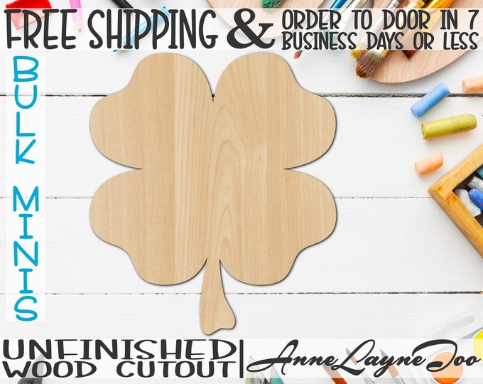 """4 Leaf Clover- 2"""" to 6"""" Minis, Shamrock Small Wood Cutout, unfinished, wood cutout, wood craft, laser cut, wood cut out, ornament -120001"""