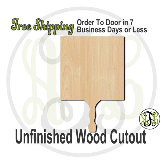 Square Paddle Sign- 3400007- Cutout, unfinished, wood cutout, wood craft, laser cut shape, wood cut out, DIY, Free Ship, Wedding, bleacher