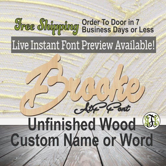 Custom Wood Name Sign, AtF Font, Cursive, Connected, wood cut out, wood cutout, wooden sign, Nursery, Wedding, Birthday, word sign