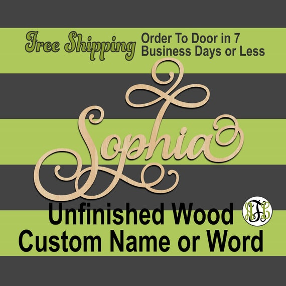 "3/8"" Thick BBP Unfinished Wood Custom Name in SaISw Font, Script, Cursive, wooden name sign, laser cut wood out, Personalized, DIY"