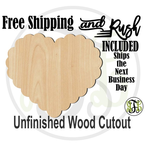 Scalloped Heart- 110023- Valentine Cutout, unfinished, wood cutout,  laser wood cutout, Door Hanger, wall art - RUSH PRODUCTION