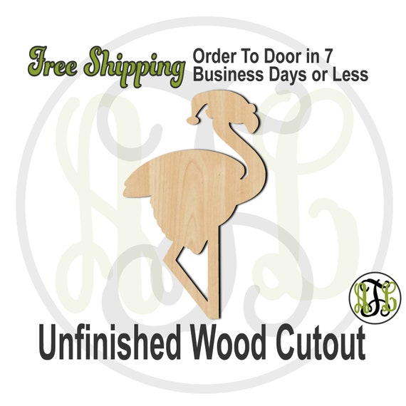 "Flamingo Santa- 4"" to 6"" Minis- 180007- Small Wood Cutout, unfinished, wood cutout, wood craft, laser cut, wood cut out, ornament"